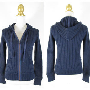 Eddie Bauer Navy Ribbed Knit Sweater Jacket NWT